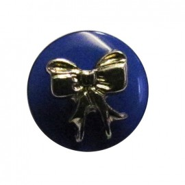 Bow-tie button - blue
