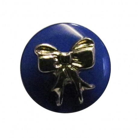 Bow-tie button - blue