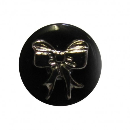 Bow-tie button - black