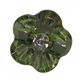 Fleur transparente strass verte