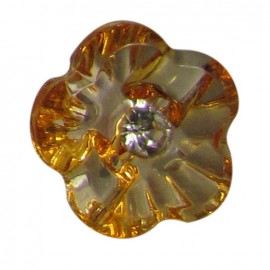 Flower button with rhinestone - orange