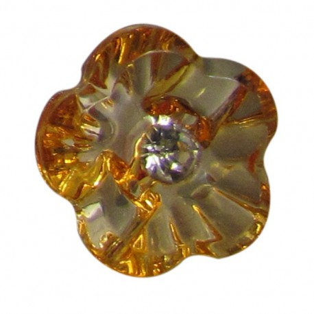 Fleur transparente strass orange