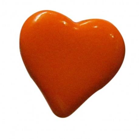 Bouton coeur orange 15mm