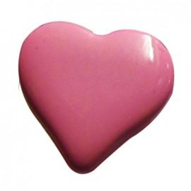 Bouton coeur fuchsia 15mm