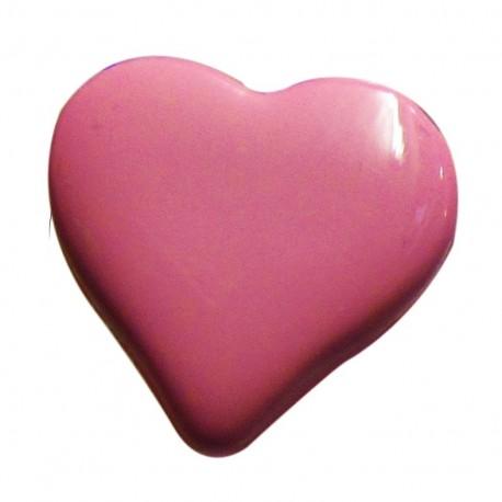 Bouton coeur rose 15mm