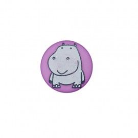 Bouton polyester Petit hippo- violet