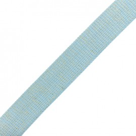Lurex strap gold - sky blue x 1m