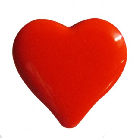 Bouton coeur rouge 15mm