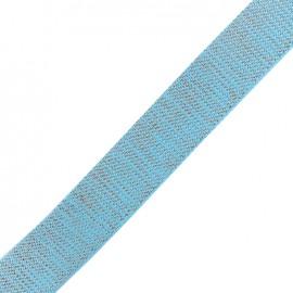 Sangle lurex cuivre - bleu pétrole x 1m