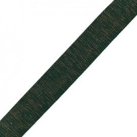 Lurex strap copper - forest green x 1m