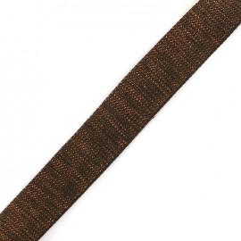 Lurex strap copper - dark brown x 1m