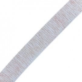 Sangle lurex cuivre - bleu clair x 1m