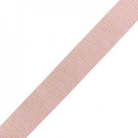 Sangle lurex doré - rose pastel x 1m