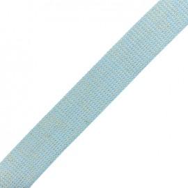 Lurex strap golden - light blue x 1m