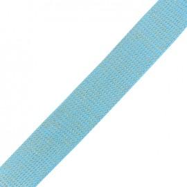Lurex strap golden - azure x 1m