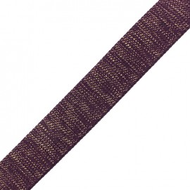Lurex strap golden - deep purple x 1m