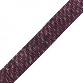 Sangle lurex doré - violet foncé x 1m