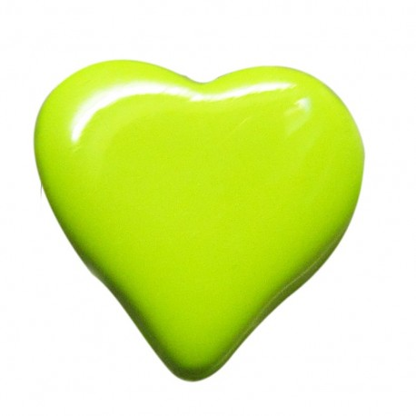 Bouton coeur vert 15mm