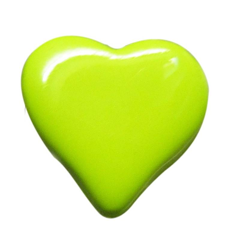 Heart-shaped button 15 mm - green