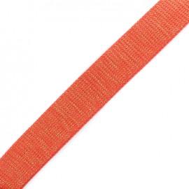 Lurex strap golden - coral x 1m