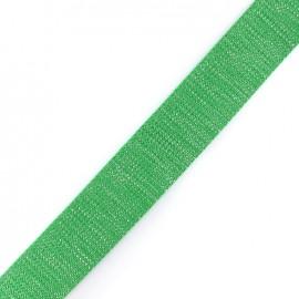 Sangle lurex argenté - vert x 1m