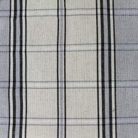 ♥ Coupon 30 cm X 160 cm ♥ Tissu toile métis carreaux - gris bleu