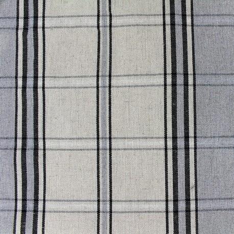 Tissu toile métis carreaux - gris bleu x 10cm