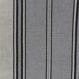 Tissu toile métis rayé - gris bleu x 10cm