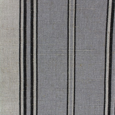 Striped metis canvas fabric - grey blue x 10cm
