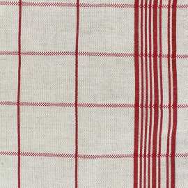 Tissu toile rondelette métis carreaux - rouge x 10cm