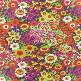 Coated cotton fabric Floraly - pink x 10cm
