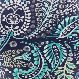 Tissu enduit coton Talya - bleu x 10cm