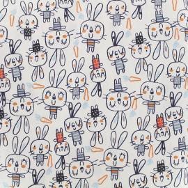 Tissu coton cretonne Spoony - gris/bleu x 10cm