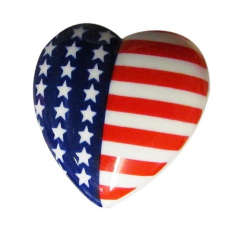 Heart-shaped button, USA flag - multicolored
