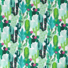 Cotton fabric Cactus - provence x 10cm