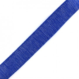 Lurex strap silvered - royal blue x 1m