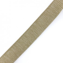 Lurex strap silvered - taupe x 1m
