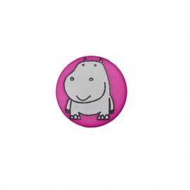 Bouton polyester Petit hippo- fuchsia