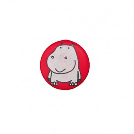 Bouton polyester Petit hippo- rouge