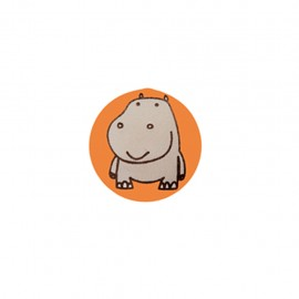 Bouton polyester Petit hippo- orange