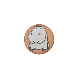 Bouton polyester Petit hippo- taupe