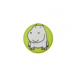 Bouton polyester Petit hippo- vert