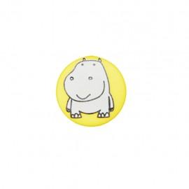 Bouton polyester Petit hippo- jaune