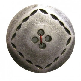 Metal button, over-stitched - silver