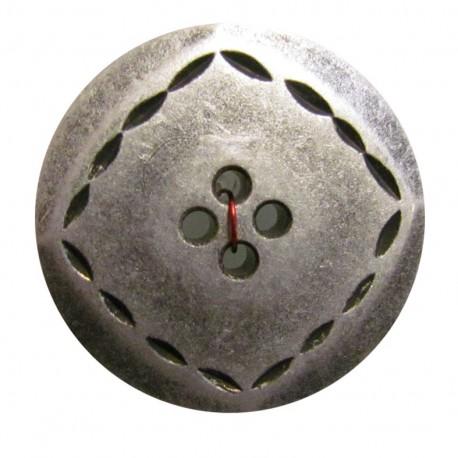 Bouton métal surpiqué argent