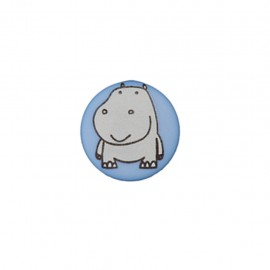 Bouton polyester Petit hippo- bleu