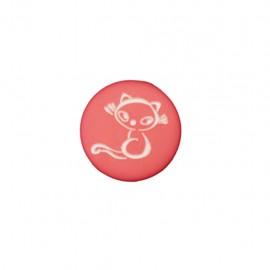Bouton polyester Petit chaton - rouge