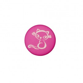 Bouton polyester Petit chaton - fuchsia