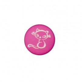 Polyester Button Petit chaton - fuchsia
