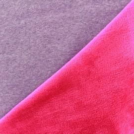Sweat with minkee reverse side Fabric bicolore - grey/fuchsia x 10cm